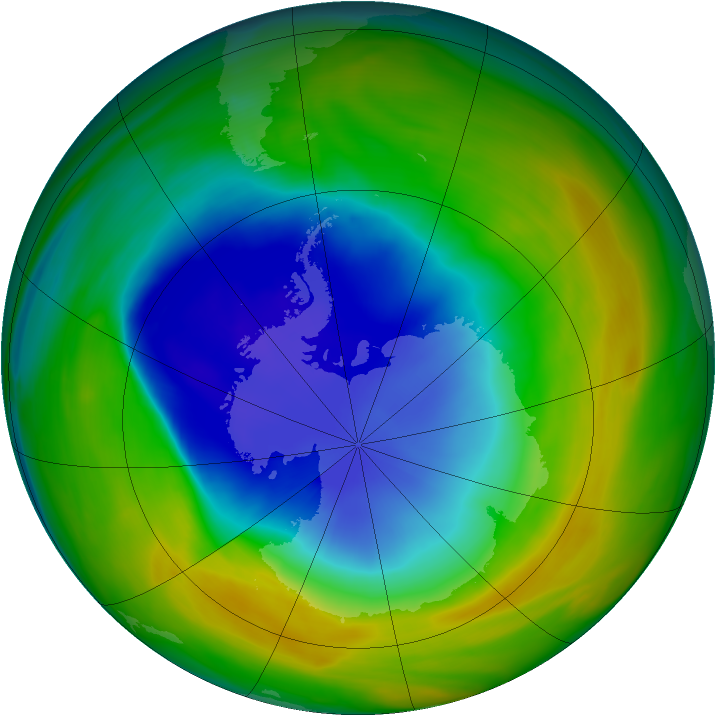 Antarctic ozone map for 31 October 2005