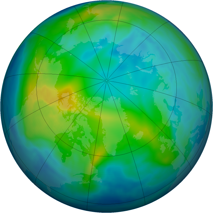 Arctic ozone map for 12 November 2005