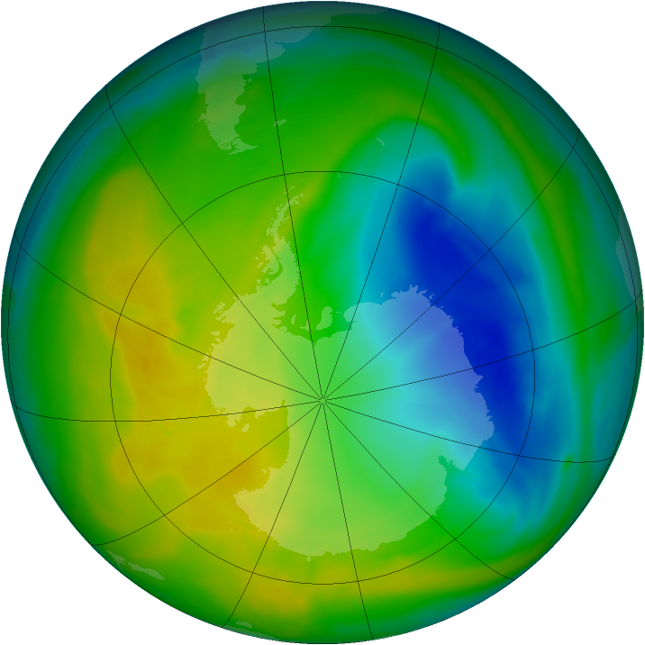 Antarctic ozone map for 14 November 2005