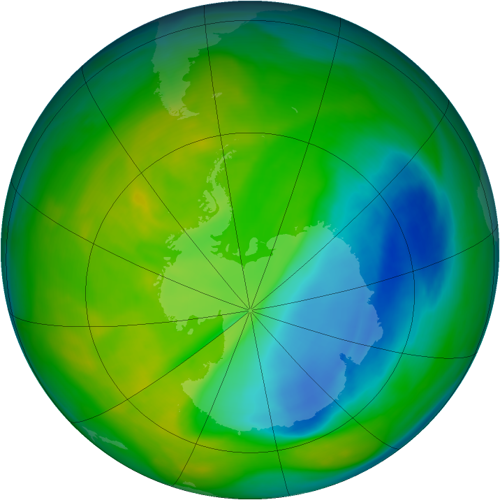 Antarctic ozone map for 19 November 2005
