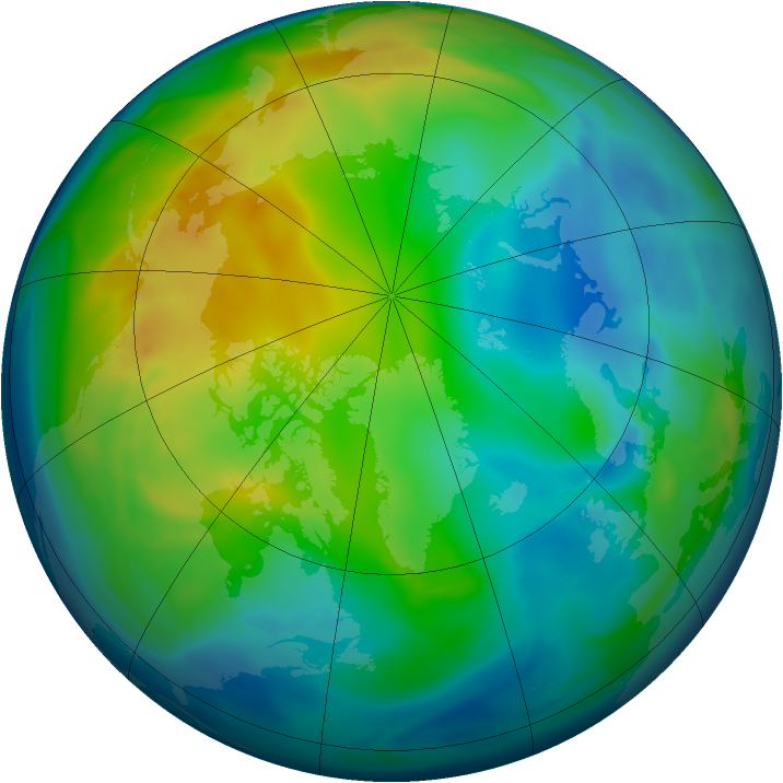Arctic ozone map for 29 November 2005