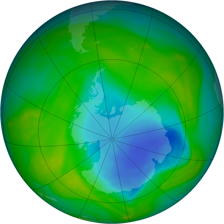 Antarctic ozone map for 29 November 2005
