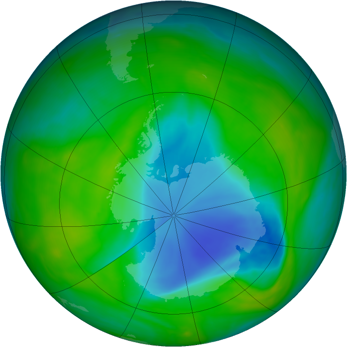 Antarctic ozone map for 30 November 2005