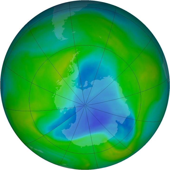 Antarctic ozone map for 01 December 2005