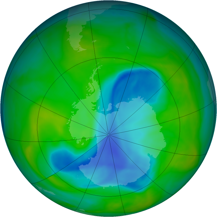 Antarctic ozone map for 04 December 2005