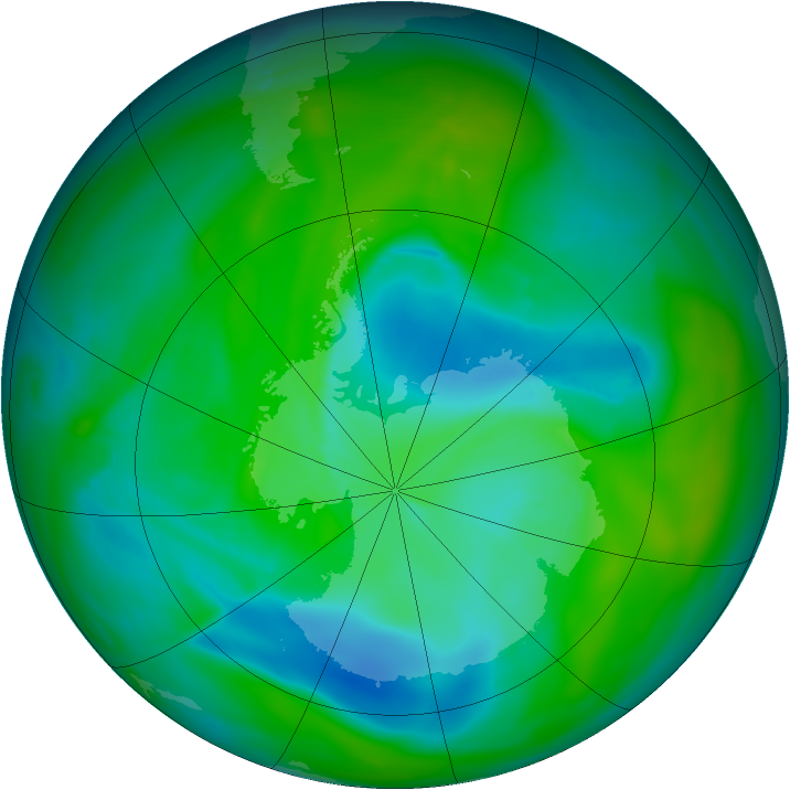 Antarctic ozone map for 07 December 2005