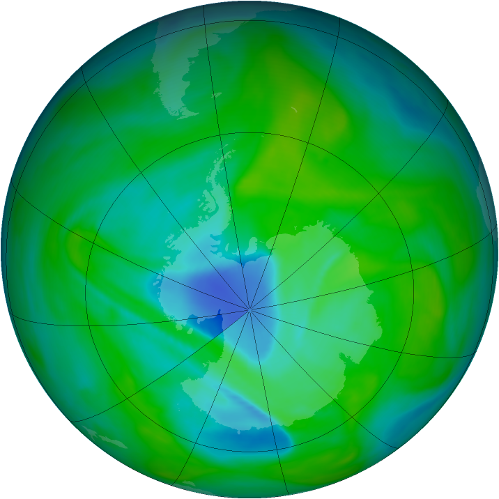 Antarctic ozone map for 10 December 2005