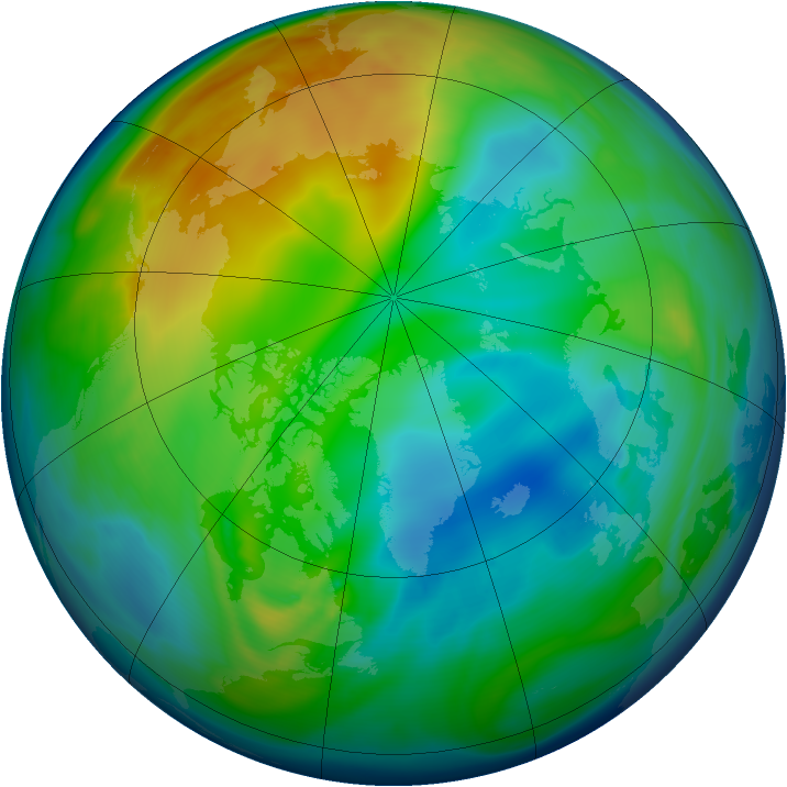 Arctic ozone map for 13 December 2005