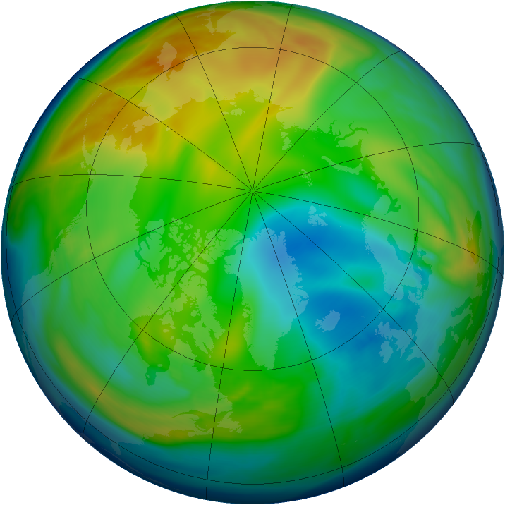Arctic ozone map for 19 December 2005