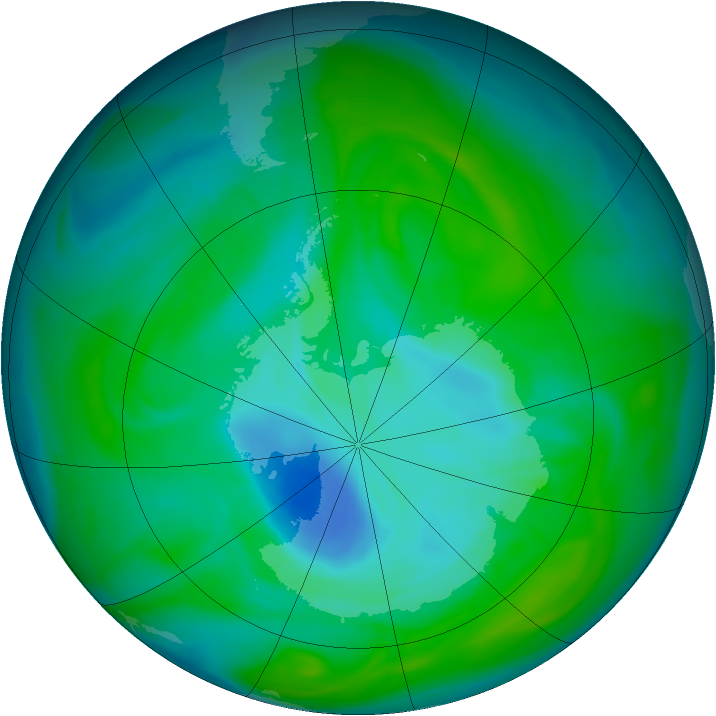 Antarctic ozone map for 24 December 2005