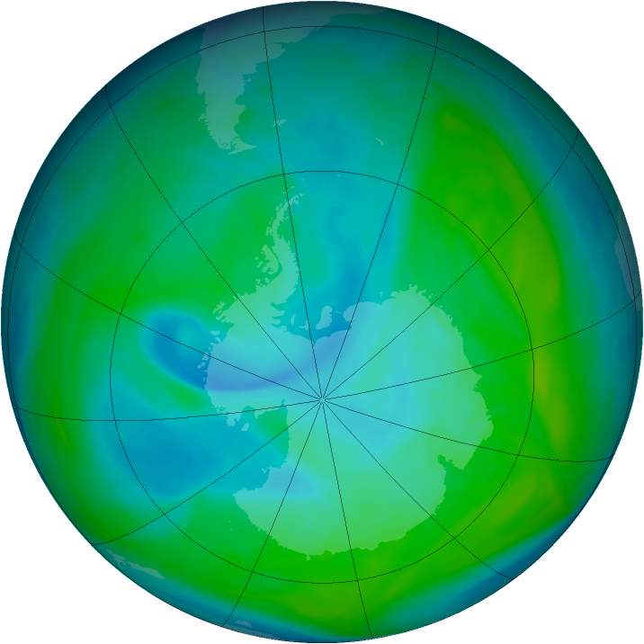 Antarctic ozone map for 31 December 2005