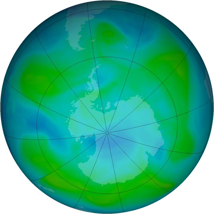 Antarctic ozone map for 16 January 2006