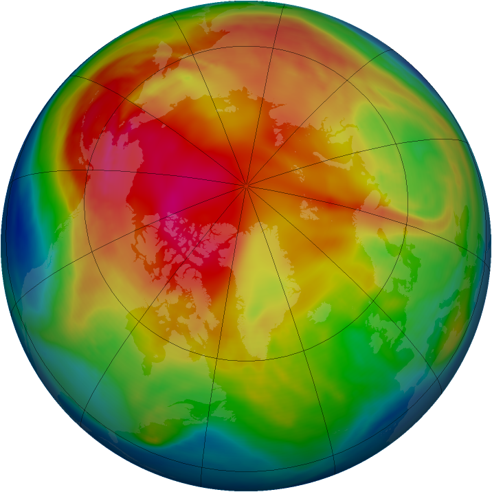 Arctic ozone map for 31 January 2006