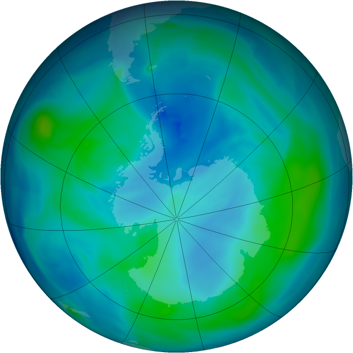 Antarctic ozone map for 09 February 2006