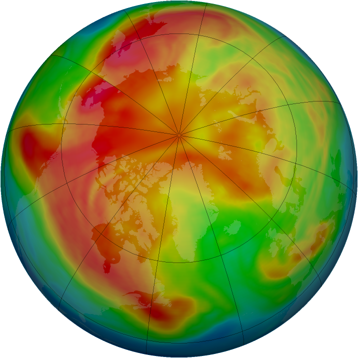Arctic ozone map for 25 February 2006