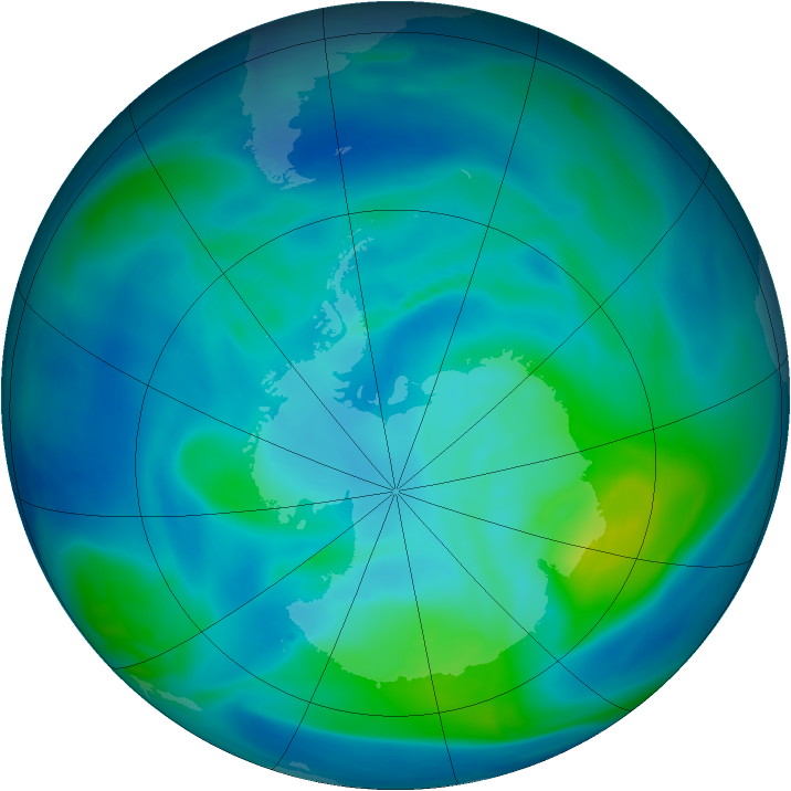 Antarctic ozone map for 04 March 2006