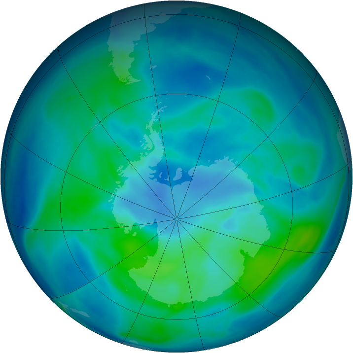 Antarctic ozone map for 13 March 2006