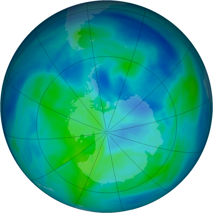 Antarctic ozone map for 19 March 2006