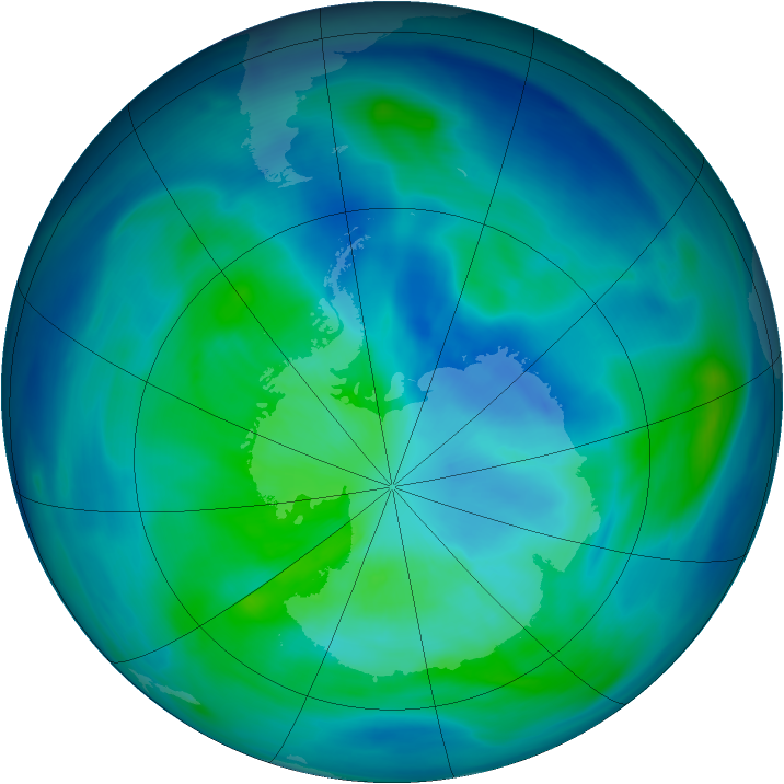 Antarctic ozone map for 20 March 2006