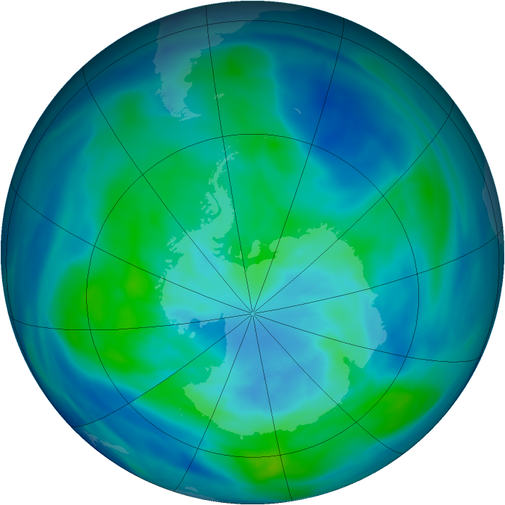 Antarctic ozone map for 25 March 2006