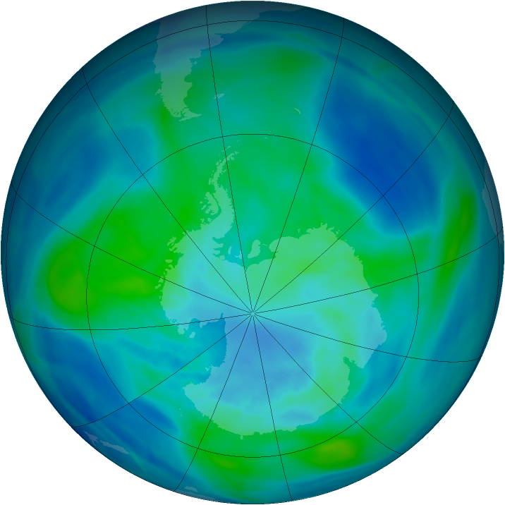 Antarctic ozone map for 26 March 2006