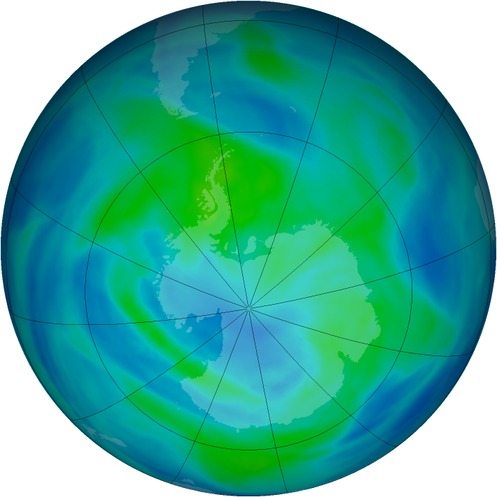 Antarctic ozone map for 29 March 2006