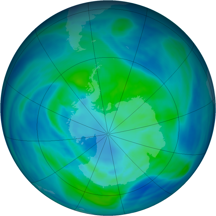 Antarctic ozone map for 30 March 2006