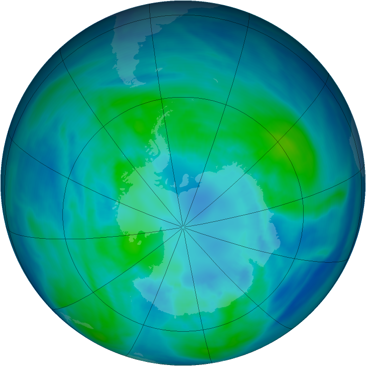 Antarctic ozone map for 09 April 2006