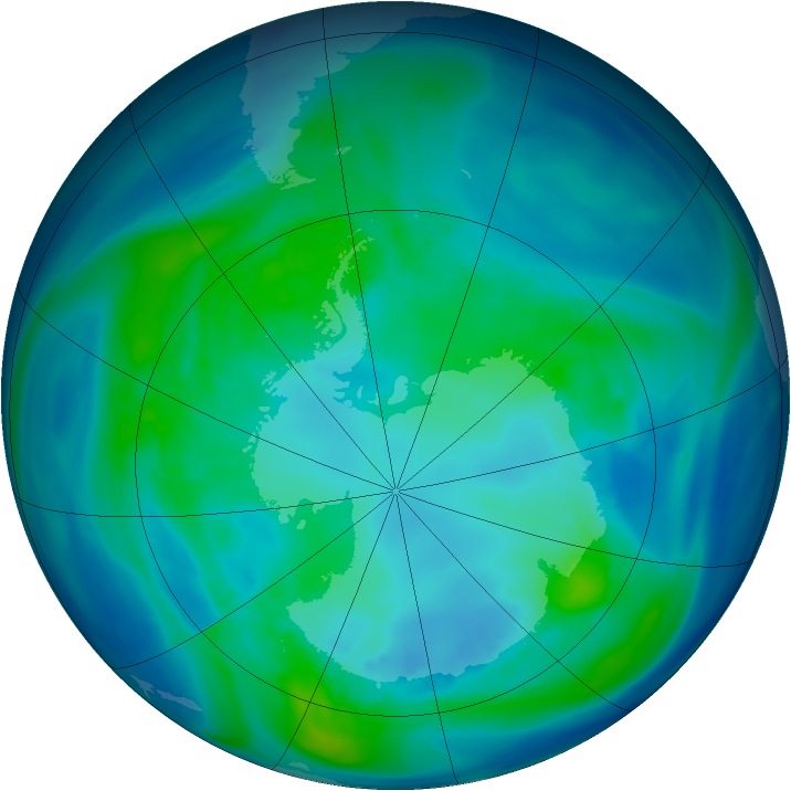 Antarctic ozone map for 22 April 2006