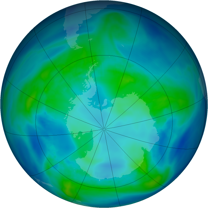 Antarctic ozone map for 23 April 2006