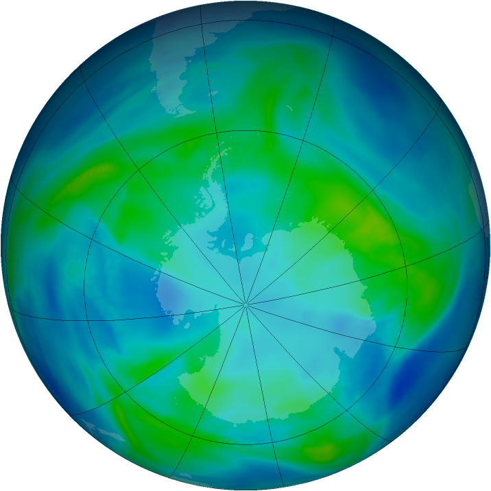Antarctic ozone map for 24 April 2006