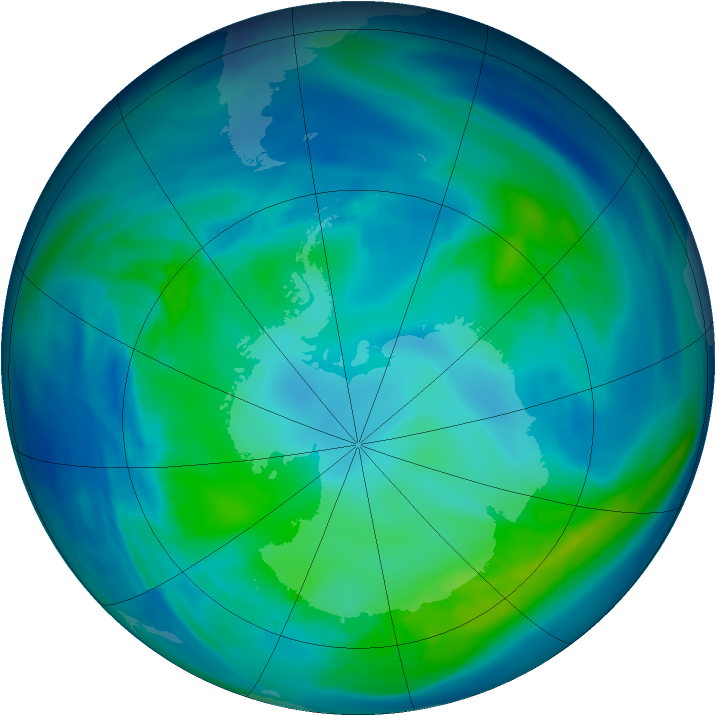 Antarctic ozone map for 01 May 2006