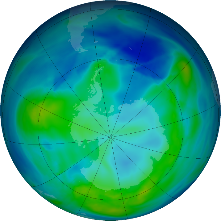 Antarctic ozone map for 04 May 2006