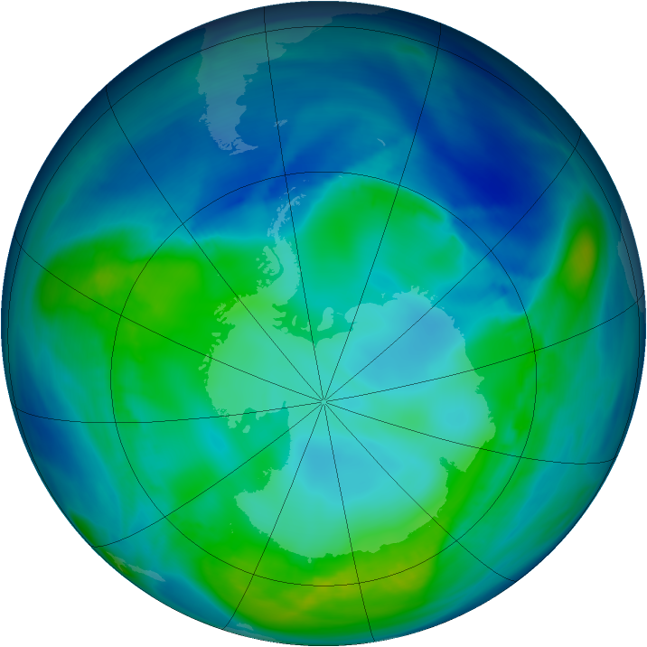 Antarctic ozone map for 05 May 2006