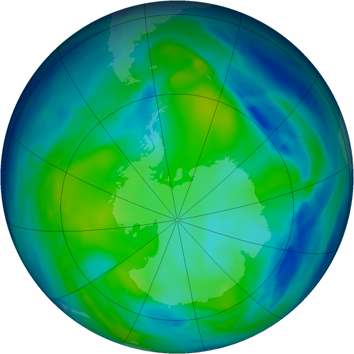 Antarctic ozone map for 21 May 2006