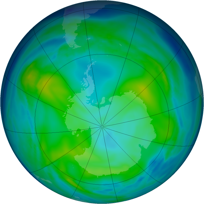 Antarctic ozone map for 29 May 2006