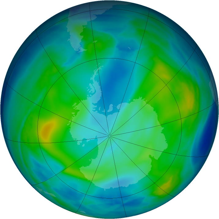 Antarctic ozone map for 02 June 2006