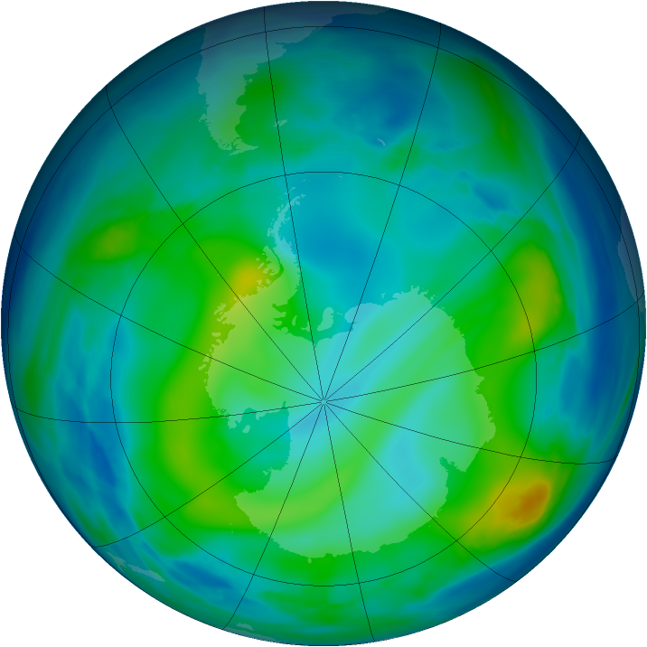 Antarctic ozone map for 04 June 2006