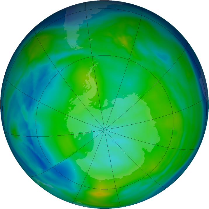 Antarctic ozone map for 05 July 2006