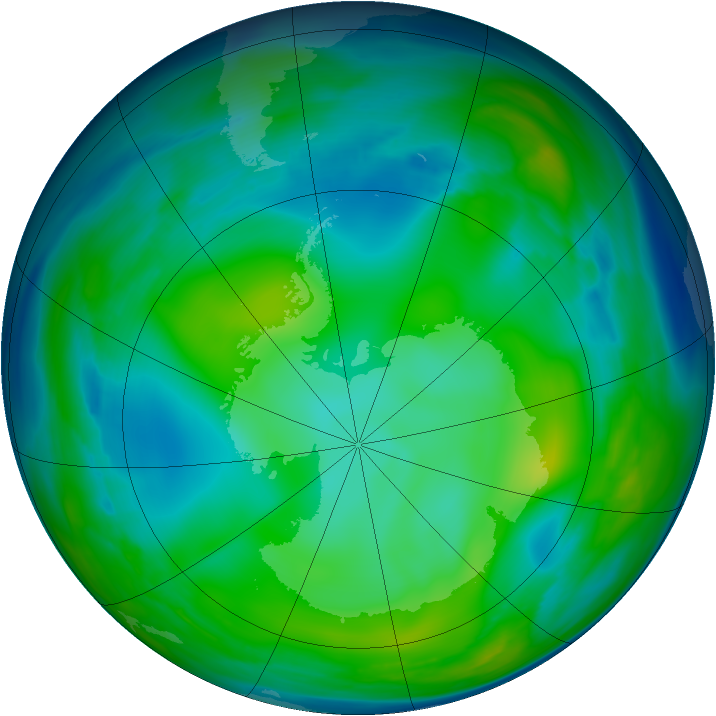 Antarctic ozone map for 08 July 2006