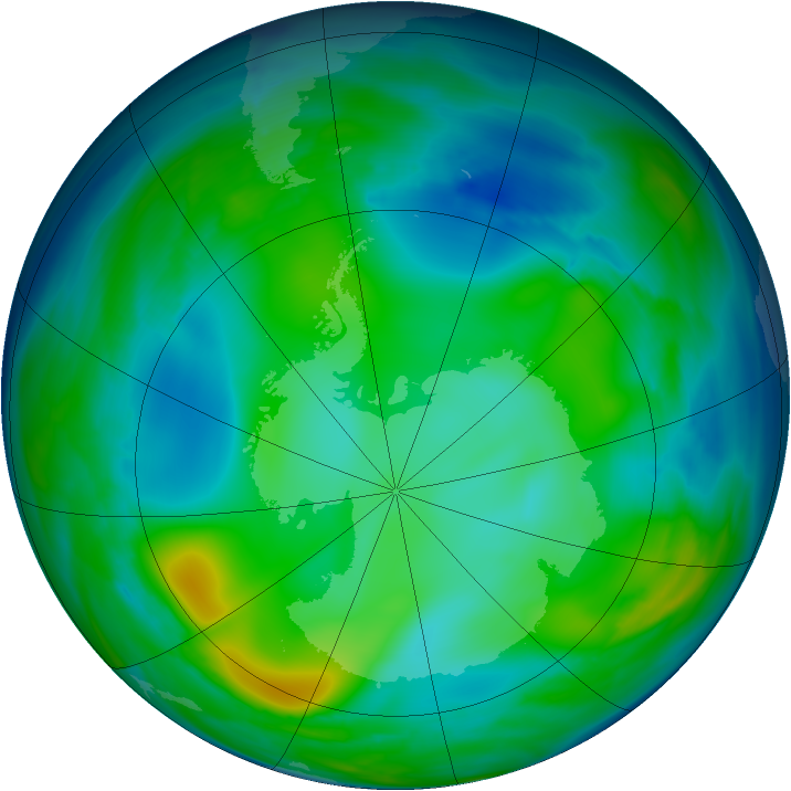 Antarctic ozone map for 10 July 2006