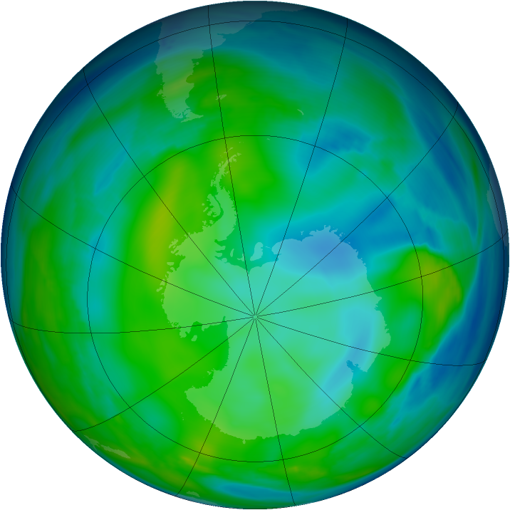 Antarctic ozone map for 12 July 2006