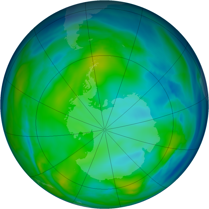 Antarctic ozone map for 13 July 2006