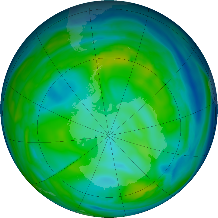 Antarctic ozone map for 15 July 2006