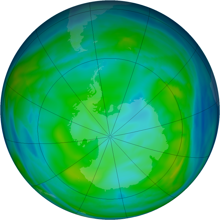 Antarctic ozone map for 17 July 2006