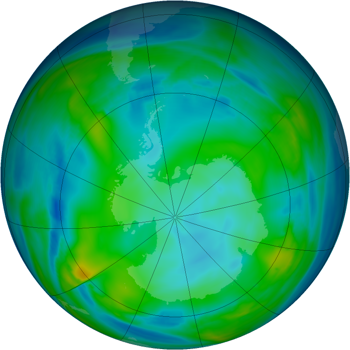 Antarctic ozone map for 20 July 2006