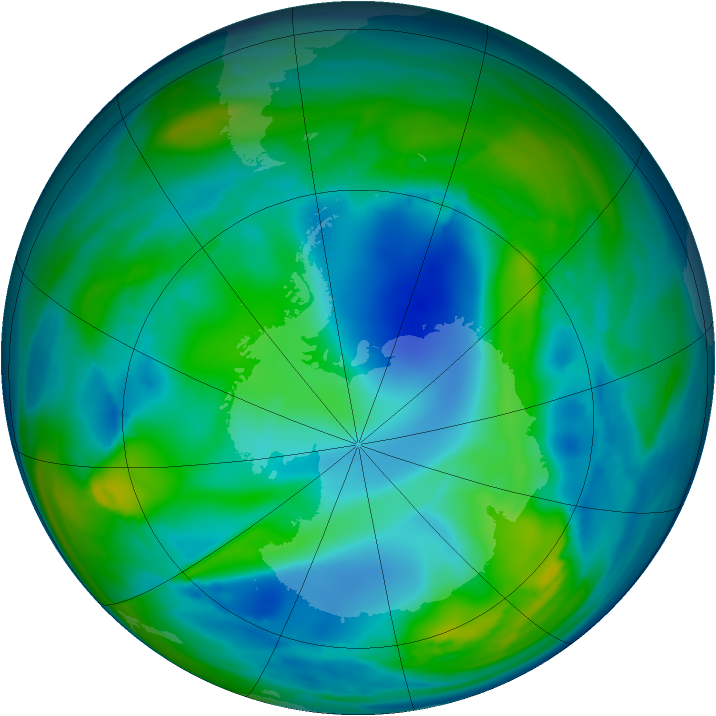 Antarctic ozone map for 25 July 2006