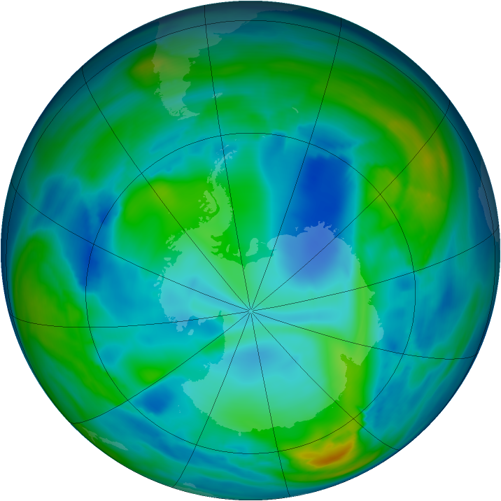 Antarctic ozone map for 26 July 2006