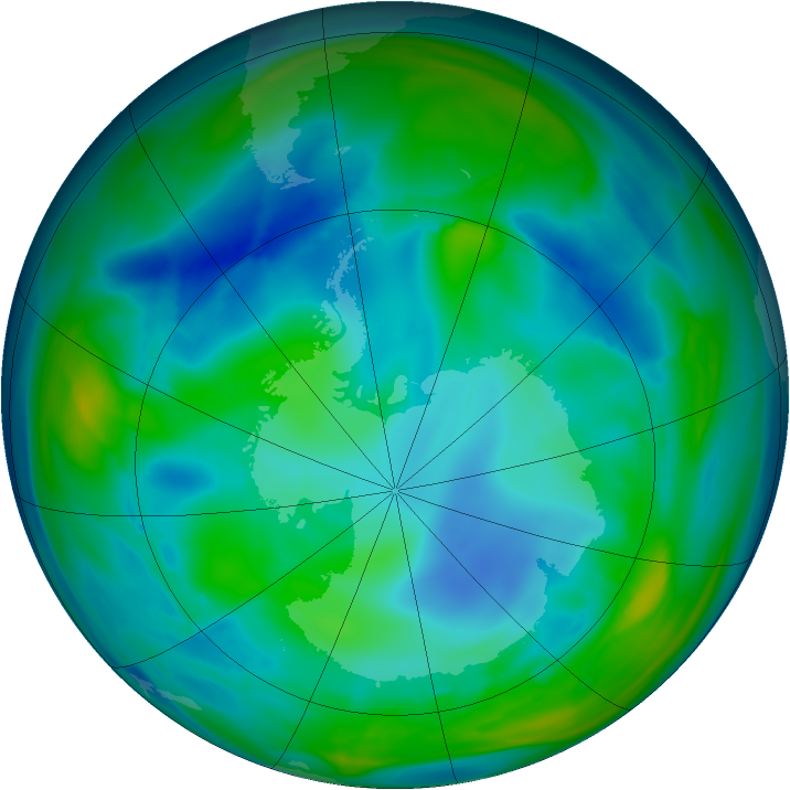 Antarctic ozone map for 30 July 2006