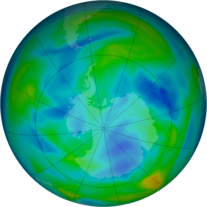 Antarctic ozone map for 31 July 2006